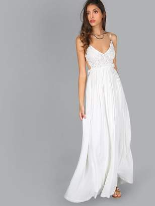 SheinShein Lace Overlay Backless Pleated Maxi Dress