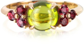 Mia & Beverly Red Sapphires and Peridot 18K Rose Gold Ring