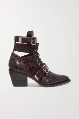 Chloé Rylee Cutout Snake-effect Leather Ankle Boots - Burgundy