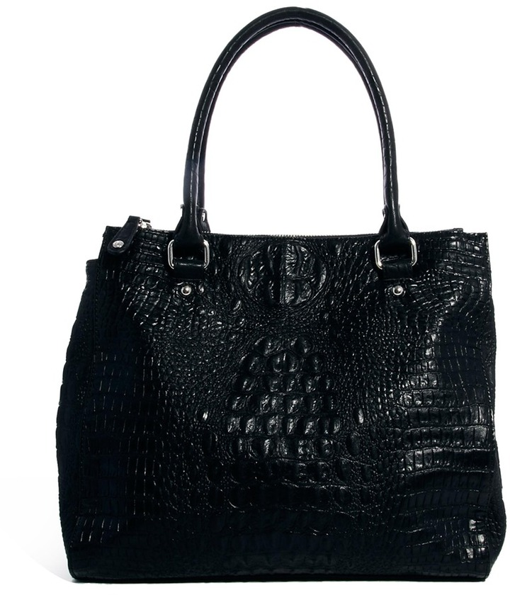 Pieces Fine Triple Compartment Croc Print Shoulder Bag