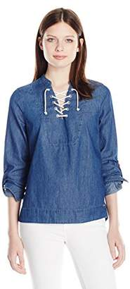 U.S. Polo Assn. Junior's Long Sleeve Lace Front Denim Pullover