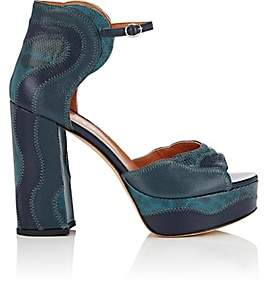 Derek Lam Women's Kimble Leather & Snakeskin Platform Sandals - Marine Blue