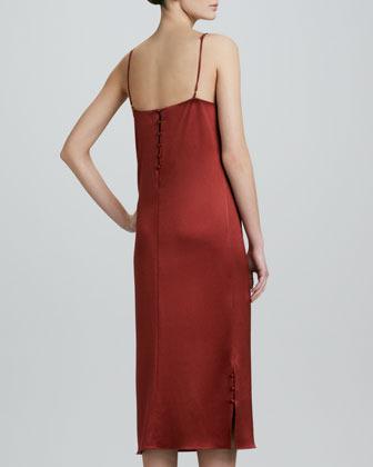 ADAM by Adam Lippes Sheer-Inset Silk Satin Slip Dress, Copper