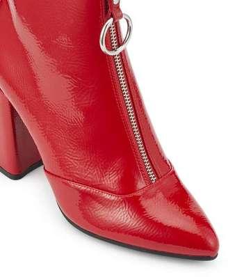 Miss Selfridge Darla crinkle red zip boots