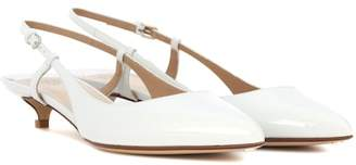 Patent leather sling-back pumps