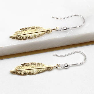 Hurleyburley Gold And Sterling Silver Feather Earrings