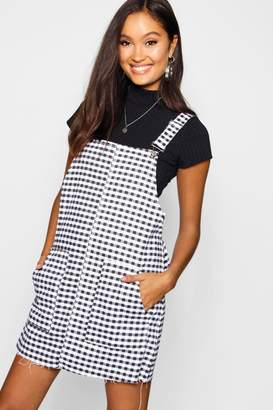 boohoo Gingham Denim Pinafore