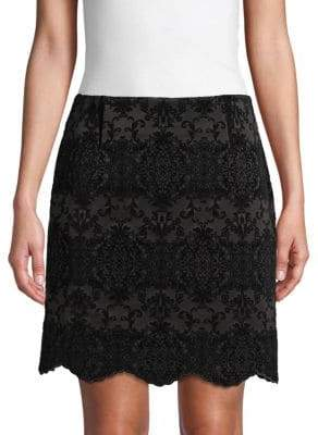 Laundry by Shelli Segal Graphic Flocked Skirt