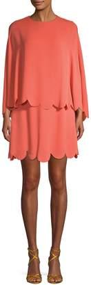 Valentino Scalloped Cape Silk Mini Dress