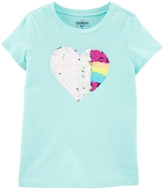 Osh Kosh Oshkosh Bgosh Girls 4-12 Rainbow Heart Flip Sequin Tee