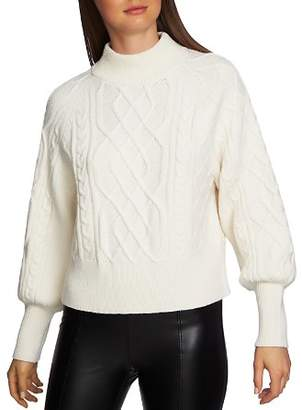 1 STATE 1.STATE Puff Sleeve Cable Knit Sweater