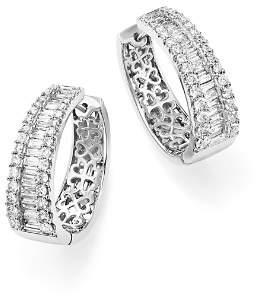 Bloomingdale's Diamond Round and Baguette Hoop Earrings in 14K White Gold, 3.0 ct. t.w. - 100% Exclusive