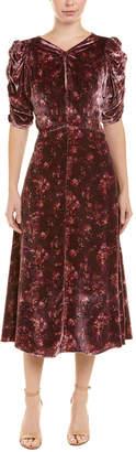 Rebecca Taylor Velvet Silk-Blend A-Line Dress