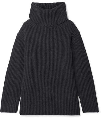 Junya Watanabe Oversized Ribbed Wool Turtleneck Sweater - Charcoal