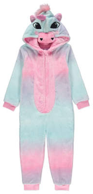 George Pink Unicorn Hooded Fleece Onesie