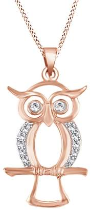 Jewel Zone US Round Cubic Zirconia Owl Pendant Necklace In 14K Gold Over Sterling Silver