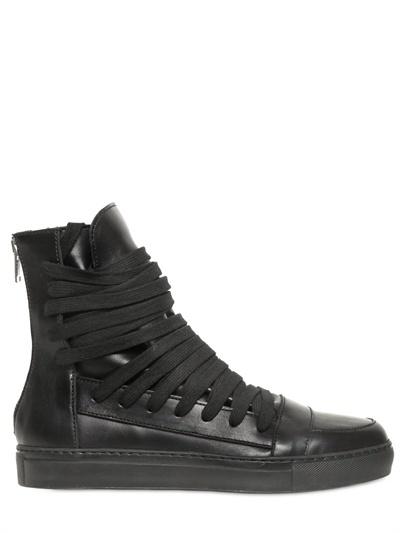 Kris Van Assche Lace Up Calfskin High Top Sneakers