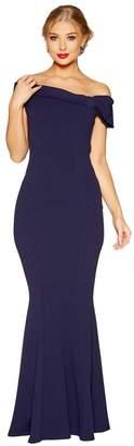 Quiz - Navy Crepe Bardot Side Bow Maxi Dress
