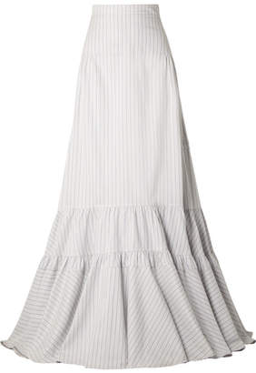 Calvin Klein Tiered Striped Silk And Cotton-blend Maxi Skirt - White