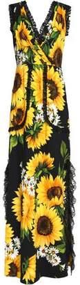 Dolce & Gabbana Wrap-Effect Lace-Trimmed Floral-Print Crepe Maxi Dress