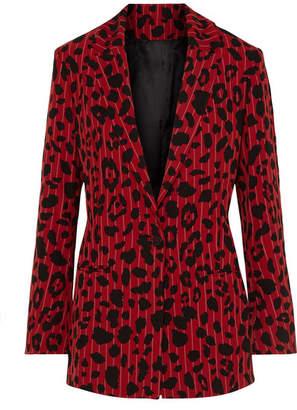 Koché - Leopard-print Pinstriped Stretch-twill Blazer - Red