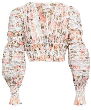 Zimmermann Cropped Smocked Floral-print Linen And Silk-blend Blouse