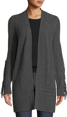 Neiman Marcus Fringe Long-Sleeve Cashmere Cardigan