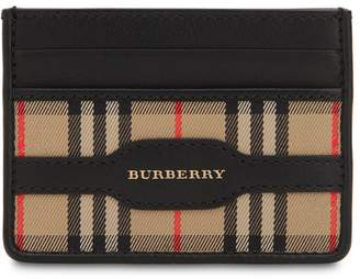 Burberry Checked Cotton & Leather Card Holder