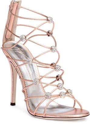 Giuseppe Zanotti Zig-Zag 115 rose gold leather sandals