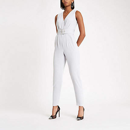 Womens Light Grey tie waist tapered leg jumpsuit