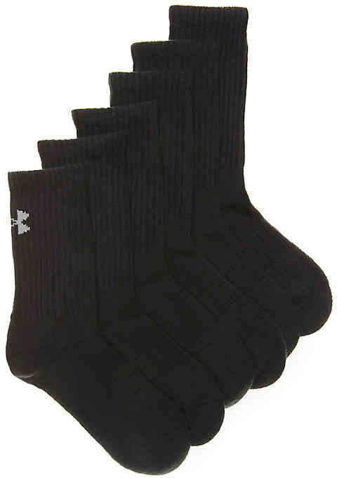 Boys Charged Cotton 2 Boys Youth Crew Socks - 6 Pack -White