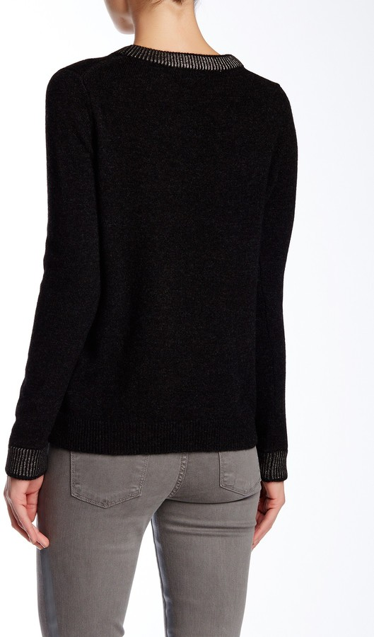 VINCE. Foil Print Wool Blend Crew Neck Sweater 4