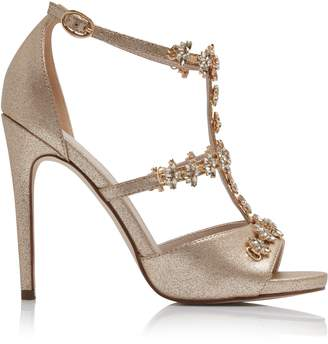 Forever New Pippa Jewel T-Bar High Heels - Gold Shimmer - 39