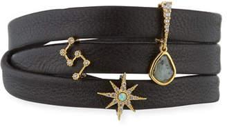 Tai Leather Wrap Charm Bracelet, Black