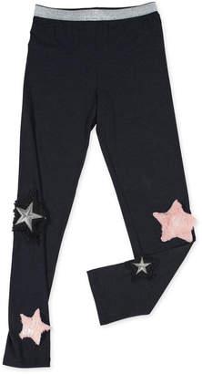 Hannah Banana Stretch Leggings w/ Faux-Fur Star Patches, Size 4-6X