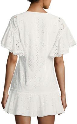 LoveShackFancy Cara Crewneck Flutter-Sleeve Eyelet Mini Dress