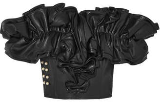 Rodarte Embellished Ruffled Leather Bustier Top - Black
