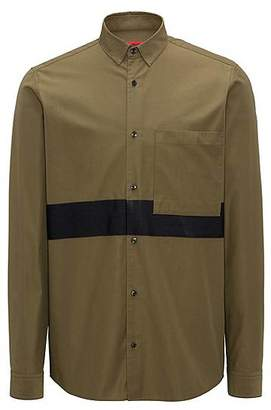 HUGO BOSS Relaxed-fit shirt in cotton twill with block stripes