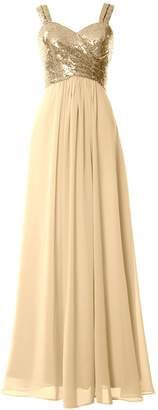 MACloth Women Straps Sequin Long Bridesmaid Dress Cowl Back Wedding Formal Gown