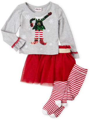 Little Lass Infant Girls) 3-Piece Holiday Elf Top & Tutu Skirt Set