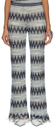 Missoni Blue and Multicolor Knit Zig Zag Lounge Pants