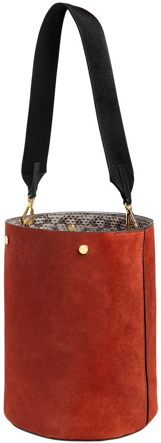 Marni Medium Suede Bucket Bag W/ Elaphe Detail