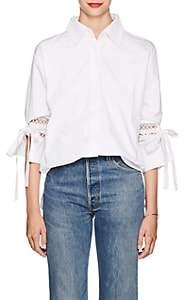 SIR The Label Women's Cotton Eyelet Tie-Sleeve Blouse - White