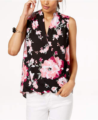 INC International Concepts I.n.c. Sleeveless Printed Surplice Top, Created for Macy's