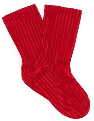 Darner Socks - Ribbed Velvet Ankle Socks - Womens - Red