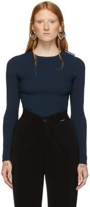 Balenciaga Navy Ribbed Crewneck Sweater
