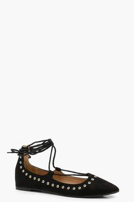 boohoo Eyelet Lace Up Pointed Ballets