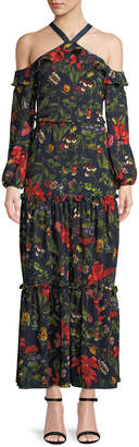 London Times Floral Cold-Shoulder Tiered Maxi Dress