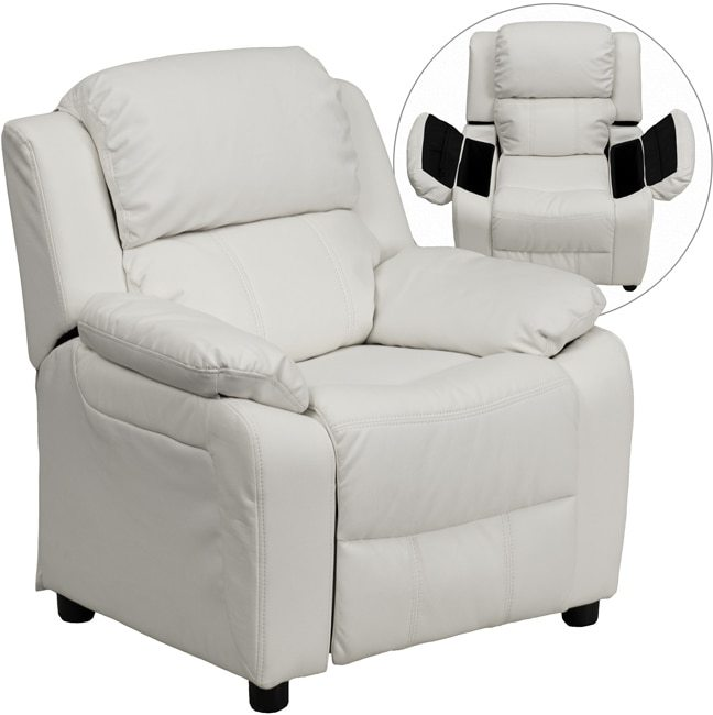 Flash Furniture Deluxe Heavily Padded Contemporary White Vinyl Kids Recliner with Storage Arms
