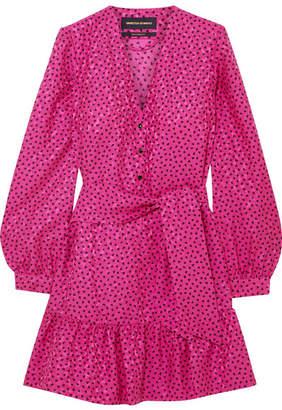 Vanessa Seward Flora Belted Printed Silk-jacquard Mini Dress - Fuchsia